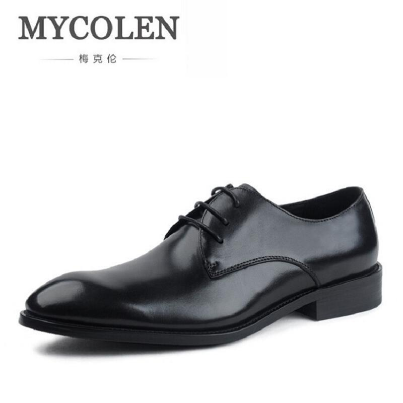 MYCOLEN Genuine Men Leather Shoes Black Italian Vintage Business Male Dress Shoes Autumn Male Social Shoes For Wedding Sapato mycolen mens genuine leather shoes dress italian leather male shoes elevator glitter black brown business shoes four seasons