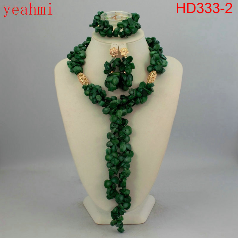 Nigeria Coral Jewelry Set Coral Beads Kalung Set HD333-1 Nigeria - Perhiasan fashion - Foto 3