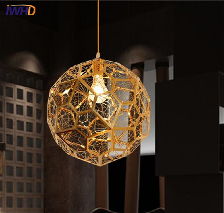 IWHD Stainless Steel LED Pending Light Fixtures Fashion Gold HangLamp Creative Restaurant Pendant Lights Living Room Lamparas
