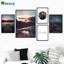 Bridge Mountain Forest Posters And Prints Nordic Poster Wall Art Canvas Painting Landscape Pictures For Living Room Decor