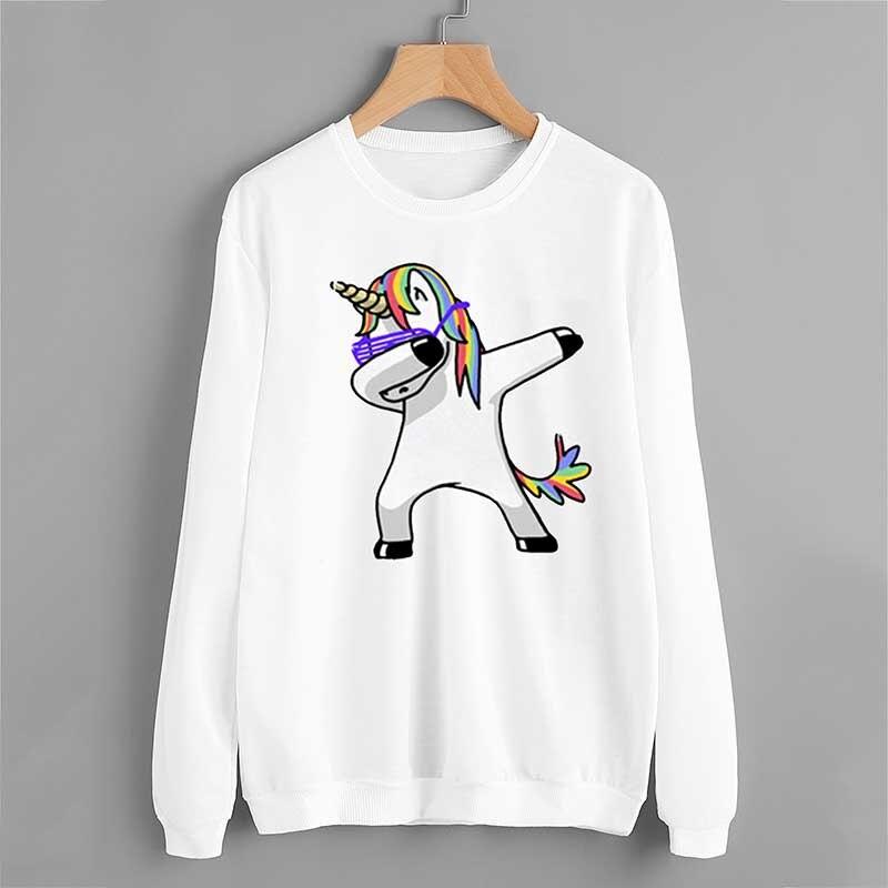 Spring autumn 3d unicorn print O neck long sleeve sleeve head unicorn teen Hoodie Top women stranger things harajuku WF103