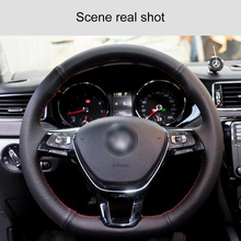 Car Steering Wheel 38 cm DIY Hand-stitched Thinning Process Microfiber Leather Car Steering Wheel Cover Suitable For Most Models shining wheat hand stitched car steering wheel cover for suzuki jimny car special