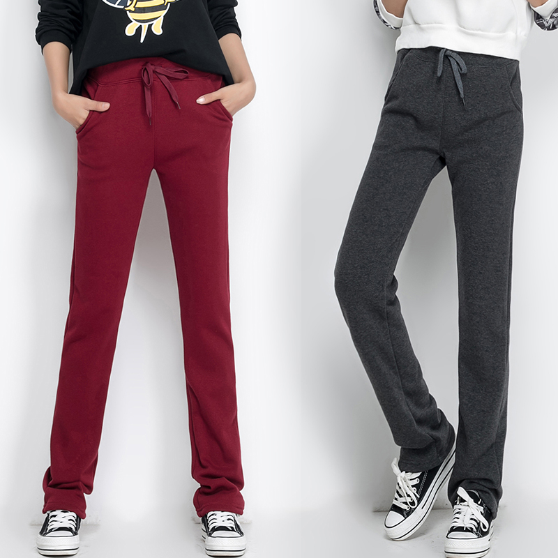 New Fashion Womens Plus Thick Velvet Pants Were Thin Straight Loose Casual Pants Knitted Jogging Pants Sports Pants
