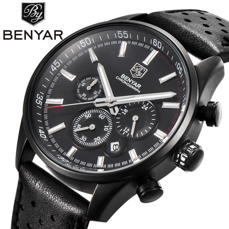 2017 NEW Arrive Mens Watches Top Brand Luxury BENYAR Sport   Leather Strap Chronograph Waterproof Quartz Wristwatches