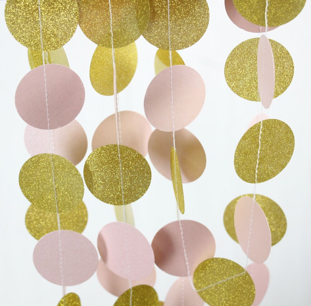 Online Shop 5pcs Pink and Gold Glitter Garland Baby Girl Nursery Art ...