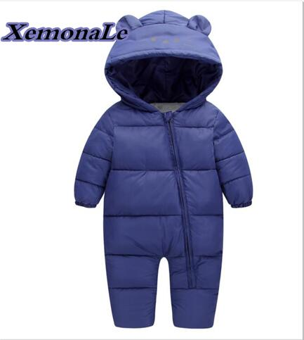 2017 Winter Infant/Newborn Rompers Warm Thick Baby Girls Boys Rompers Cartoon Children Hooded Rompers Kids Casual Jumpsuits 0 9months autumn winter baby girls boys rompers cartoon cute thick warm hooded jumpsuits newborn clothes infant clothing bc1225