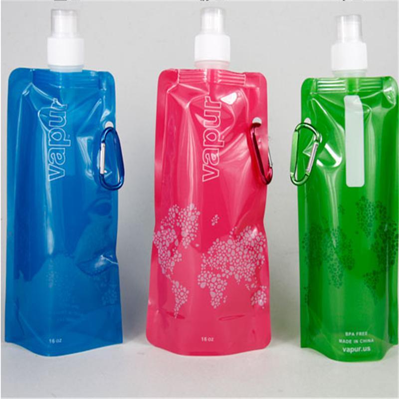Sports Flexible Collapsible Foldable Reusable Water Bottles Ice Bag Random Color