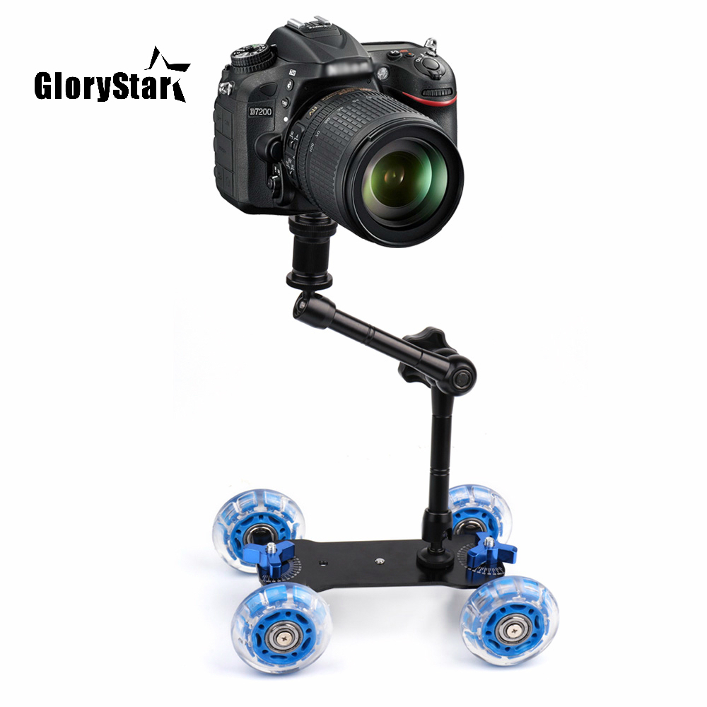 Schreibtisch Dolly+11'' Magic Arm Tabletop Mobile Rolling Video Rail Skater for DSLR Camera Slider Track Dolly Car & Magic Arm image