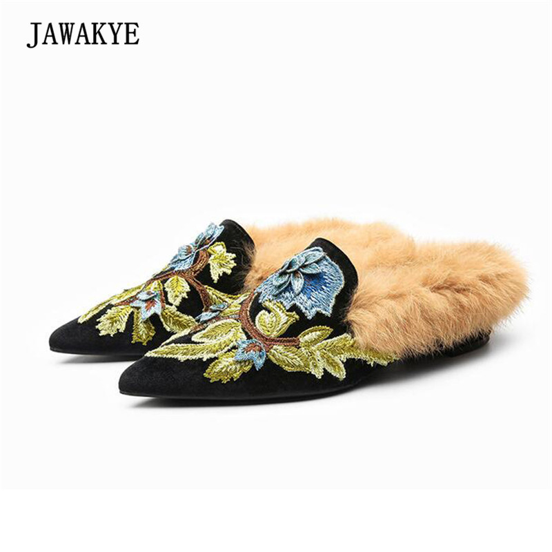 все цены на 2018 Luxury Satin Fur Slipper Woman Pointed Toe Embroidered Flower Flat Retro Muller Shoes Women