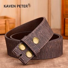 100% Genuine Leather Without Buckle Belt For Jeans Vintage Belt For Men 3.8 CM Width Cowskin Strap With One Layer Leather