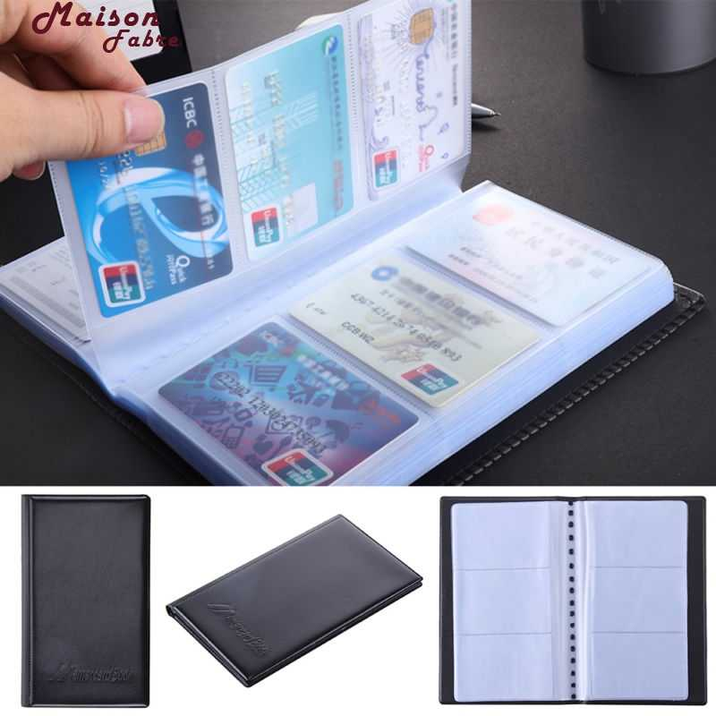 Maison Fabre Card case card holder Black Leather 120 Business Name Card Holder Book Wallet Cover Case Pouch Folder   40
