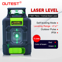 OUTEST 901C 5 lines Self Leveling Laser Level, 360 Green/Red Beam Cross Line Laser Tool, Alignment 360 Degree Horizontal Line