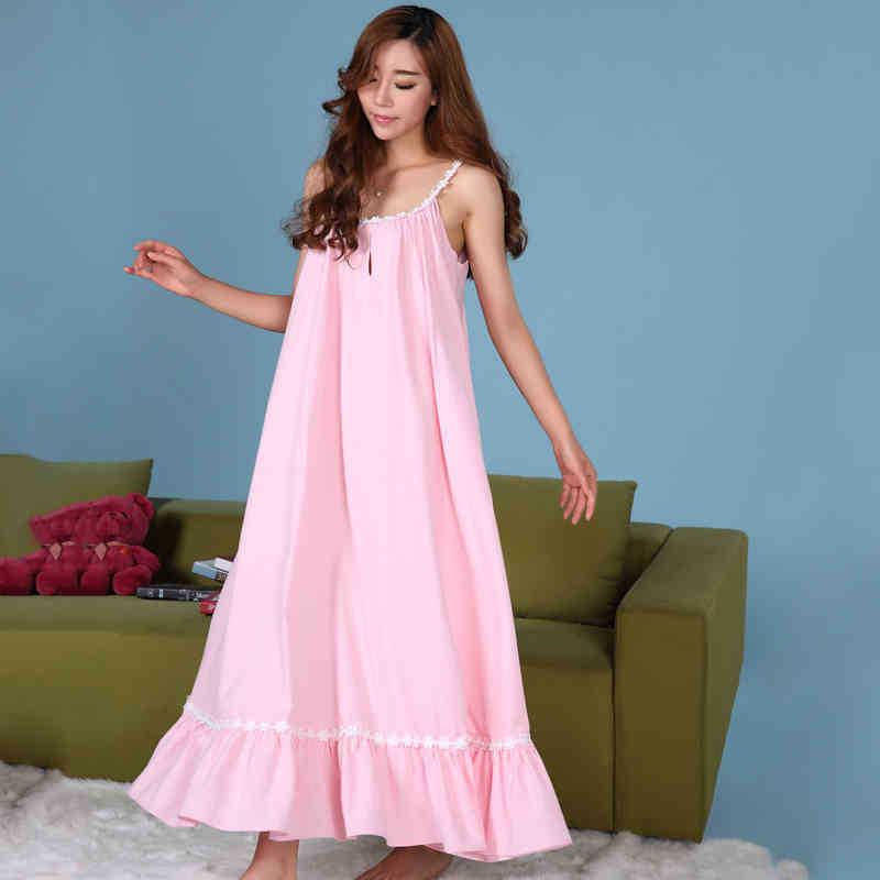 Pink/white Princess Nightgowns Women Sleepwear Long Cotton ...