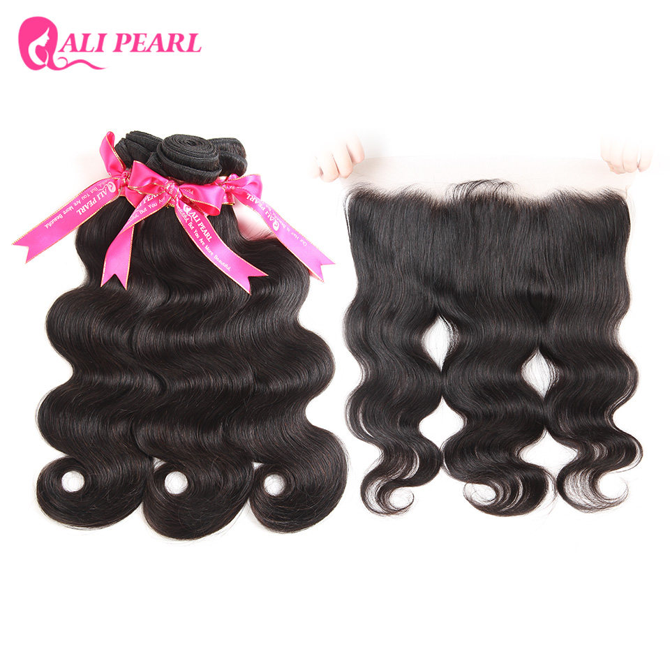 Hair Extensions & Wigs Alipearl Hair Pre Plucked 360 Lace Frontal Closure With Bundles Human Hair 3 Bundles Peruvian Body Wave Remy Hair Extensions