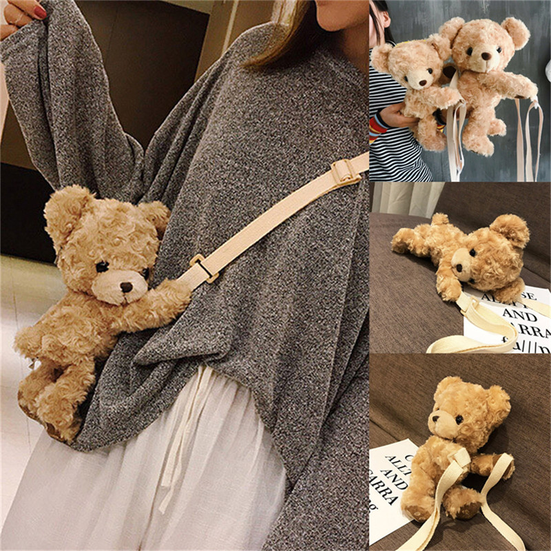 NOENNAME_NULL Cute Girls Cute Smile Bear Soft Plush Doll Lolita Handbag Animal Shoulder Bag