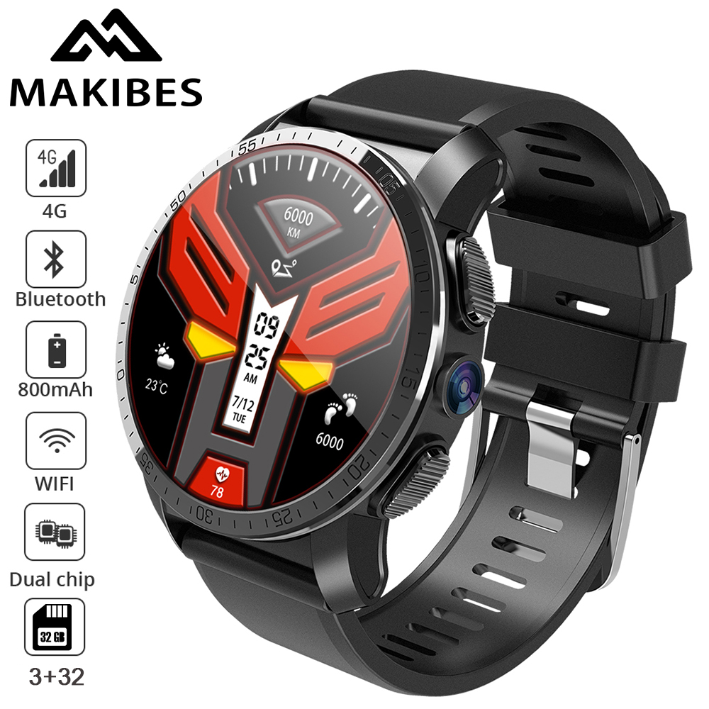 Makibes M3 Pro 4G MT6739+NRF52840 Dual chip 3GB 32GB Smart Watch Phone Android 7.1 8MP Camera GPS 800mAh Answer call SIM TF card