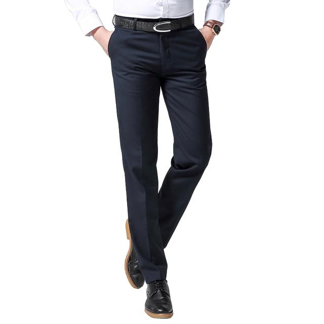 Sarouya 2018 nueva primavera hombres de negocios Pantalones de traje azul  marino Negro hombres vestido Pantalones 953b06b6db79