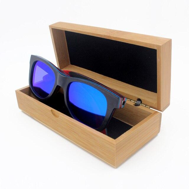 Madera Gafas de Sol Polarizadas Gafas de Sol de Espejo Con Resorte de La Bisagra de Metal Y Marco de Skate Negro Lunette de Soleil Femme Homme