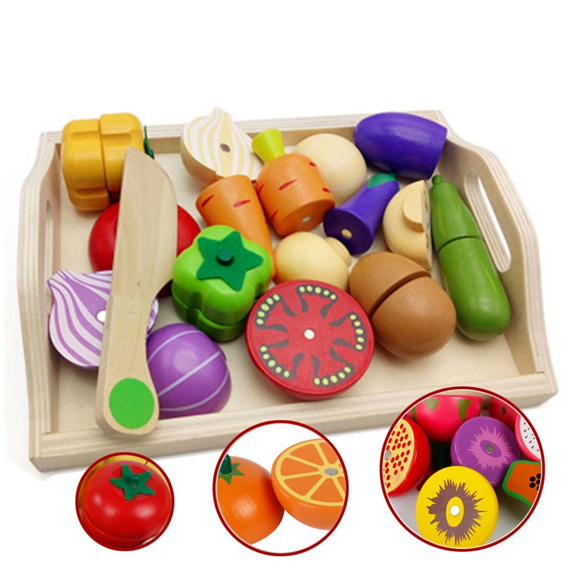 food toys Play miniature Food Wooden Kitchen Toys early education Cutting Fruit Vegetable Kids Wooden baby