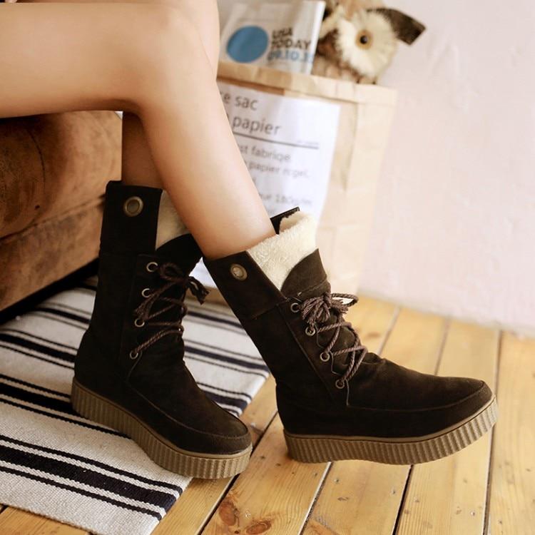 ФОТО Fashion fashion 2016 autumn flat heel medium-leg flat scrub boots cotton-padded shoes round toe lacing boots snow boots