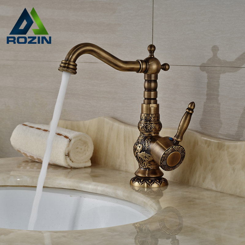 Deck Mount Artistic Brass Bathroom Vanity Sink Faucet Single Handle Antique One Hole Basin Mixer Tap bathroom antique brass sink faucet vanity tap deck mounted swivel spout single lever one hole