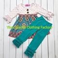 Cair Boutique crianças Atacado inverno Giggle Lua Remakes Crianças tarja Conjuntos de Vestuário Boutique Meninas conjuntos de Ação De Graças