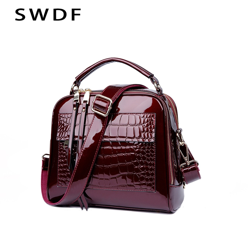 SWDF New Designer Women's Handbags Quality Oil Pu Women Messenger Bag Crocodile Pattern Patent Leather Shoulder Bags Ladies new stylish patent leather women messenger bags women handbags crocodile shoulder bags for woman clutch crossbody bag 6n07 06