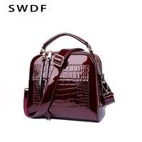 SWDF New Designer Women S Handbags Quality Oil Pu Women Messenger Bag Crocodile Pattern Patent Leather