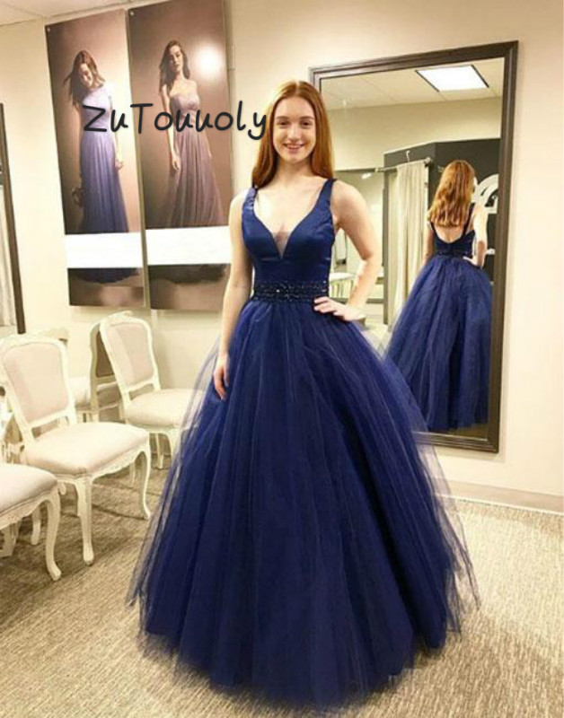 Beautiful Navy Blue Backless   Prom     Dress   With Beaded Sash A Line V Neck Tulle Floor Length Elegant Plus Size Evening Gowns 2019