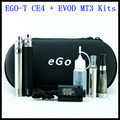 Dual ego ce4 + evod MT3 cigarrillo electrónico ego kits de la cremallera con ce4 atomizador y MT3 vaporizador cigarrillo electrónico ego t batería evod