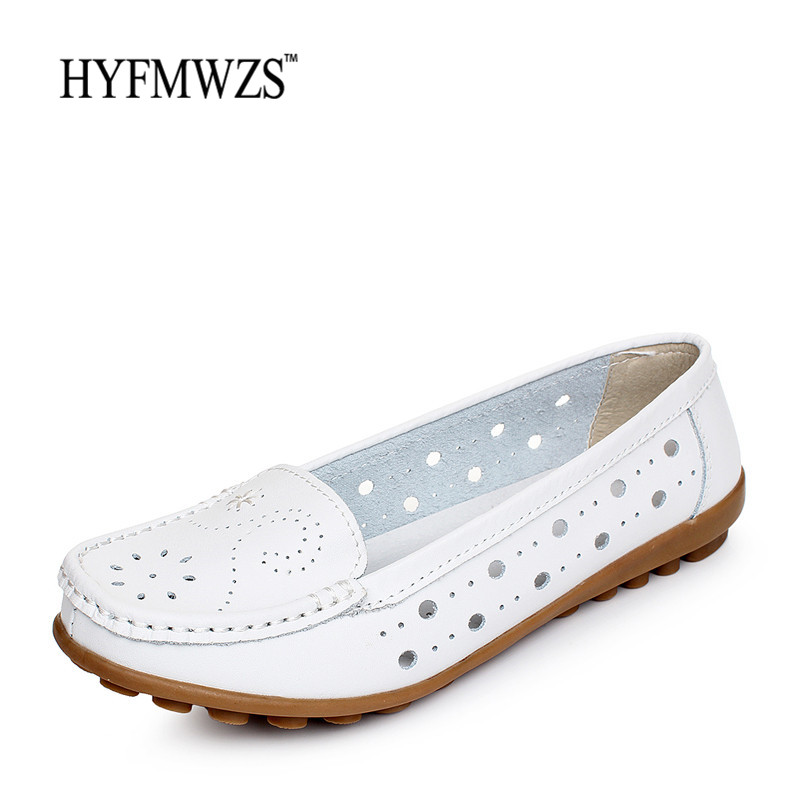 HYFMWZS Fashion Designers 2017 Spilt Leather Flat Shoes Women Hole Flats Ballet Shoes Woman Slip On Shoes For Women Footwear hyfmwzs soft and breathable flat shoes women slip on non slip leather shoes woman comfortable lace up ballet flats zapatos mujer