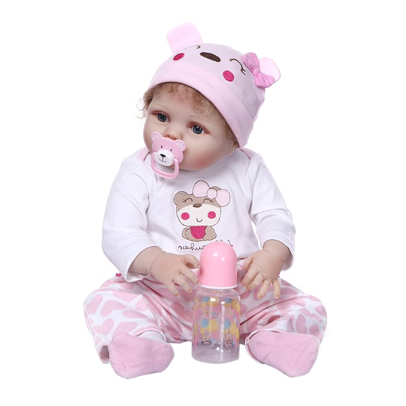 56cm Reborn Doll Realistic Full Silicone Vinyl Newborn Baby Toy Girl Princess Clothes Pacifier Lifelike Handmade Birthday Gift-in Dolls from Toys & Hobbies    1