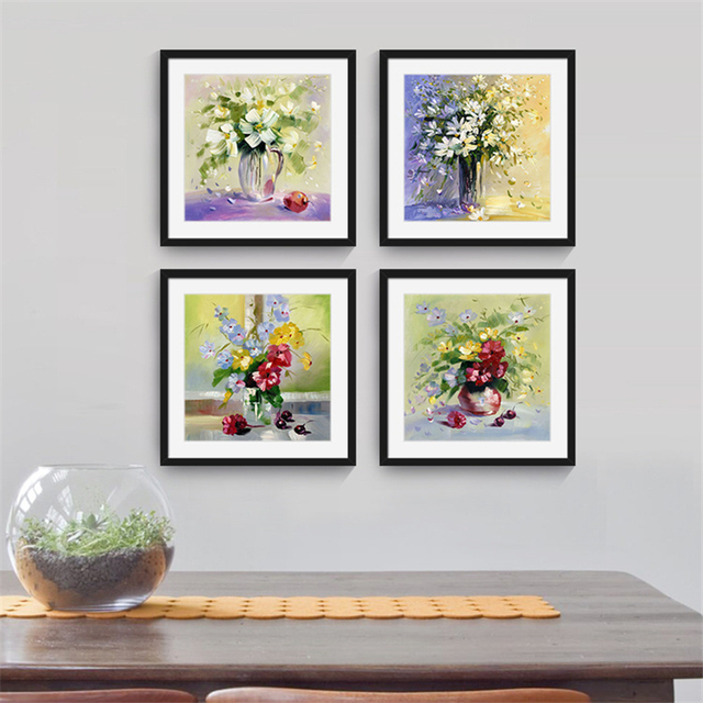 Charming Flowers With Vase On Table Square Nordic Wall Paper