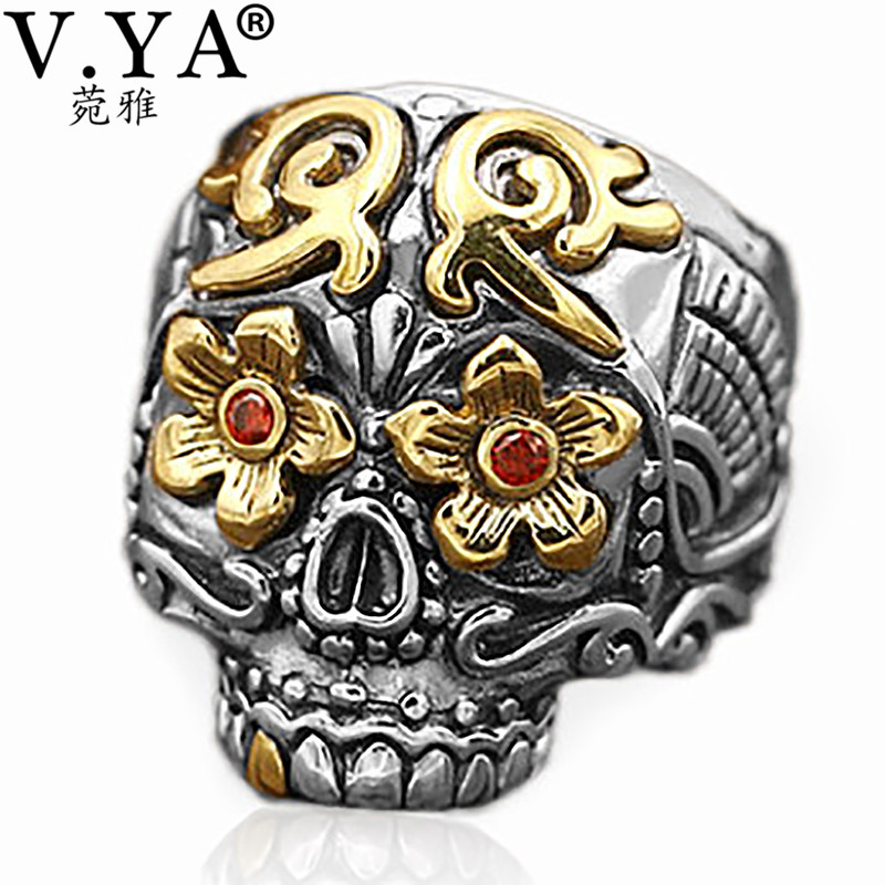 V.YA Cool 925 Sterling Silver Vintage Rings for Men Women Skeleton Skull Ring Fashion Jewelry Bijoux Hot Sale thailand imports skull blood new skeleton silver ring