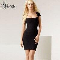 Ra khỏi Kích Thước Giải Phóng Mặt Bằng Sale! phải Có! quảng trường Cổ Slim Bodycon Phụ Nữ Bandage Dress Celebrity Đảng Mini Dress