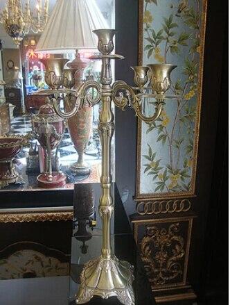 European 5 branch antique bronze metal candelabra, festival decoration candlesticks , home decoration candle holders ZT044