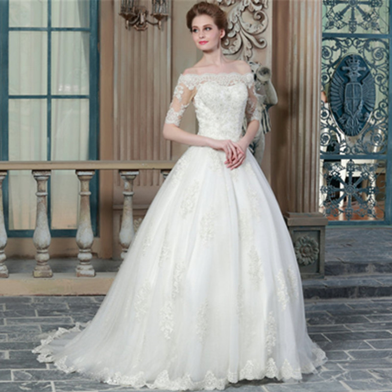 Buy lace wedding dress 2015 elegant for Wedding dresses with half sleeves