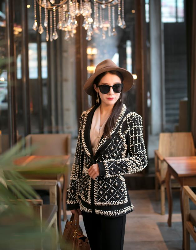 2019 Women New Black Pearl Blazer Jacket Nightclub Costume Female Guest Ds Singer Dj Performance Party