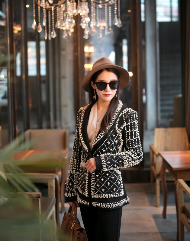 2019 Women New Black Pearl Blazer Jacket Nightclub Costume Female Guest Ds Singer Dj Performance Party Celebration High Quality