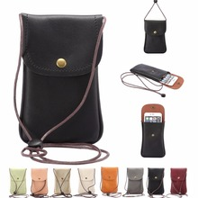 New Universal Leather Cell Phone Bag Shoulder Pocket Wallet Pouch Case Neck Strap Fit For Smaller Than 5.7 inches Phone Model
