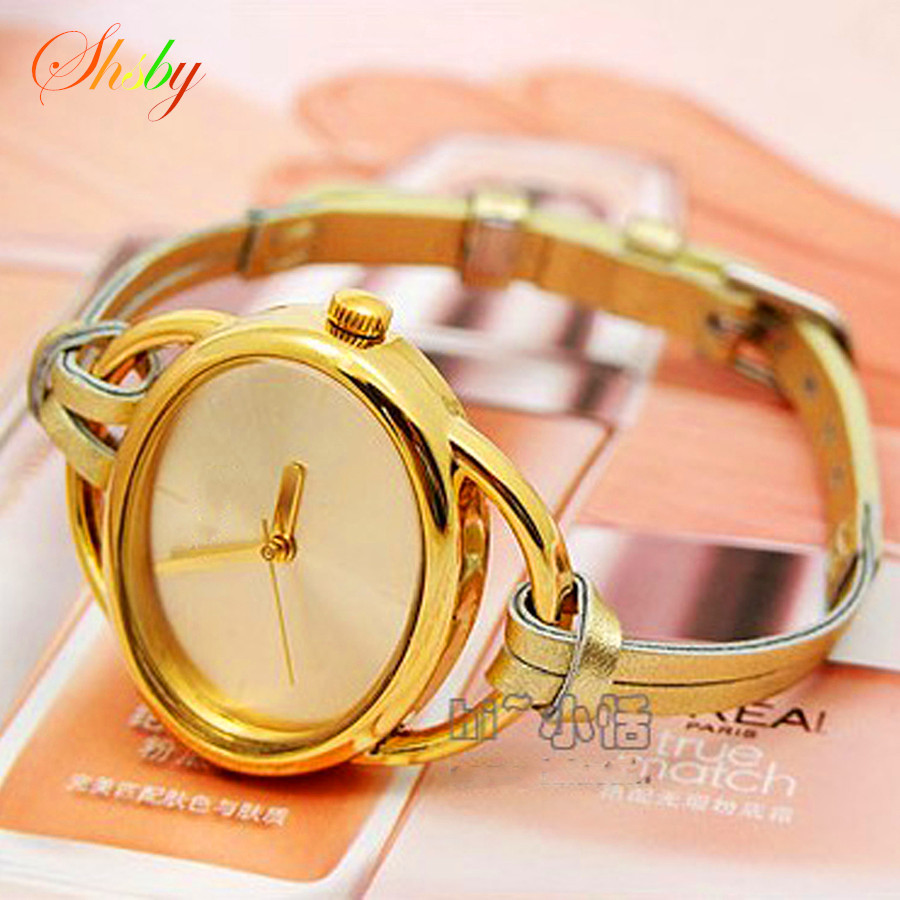 Shsby New Leather Strap Watch Women Dress Quartz Watch Hand-knitted Oval Watch Ladies Bracelet Watch Gold Student Watches Gift