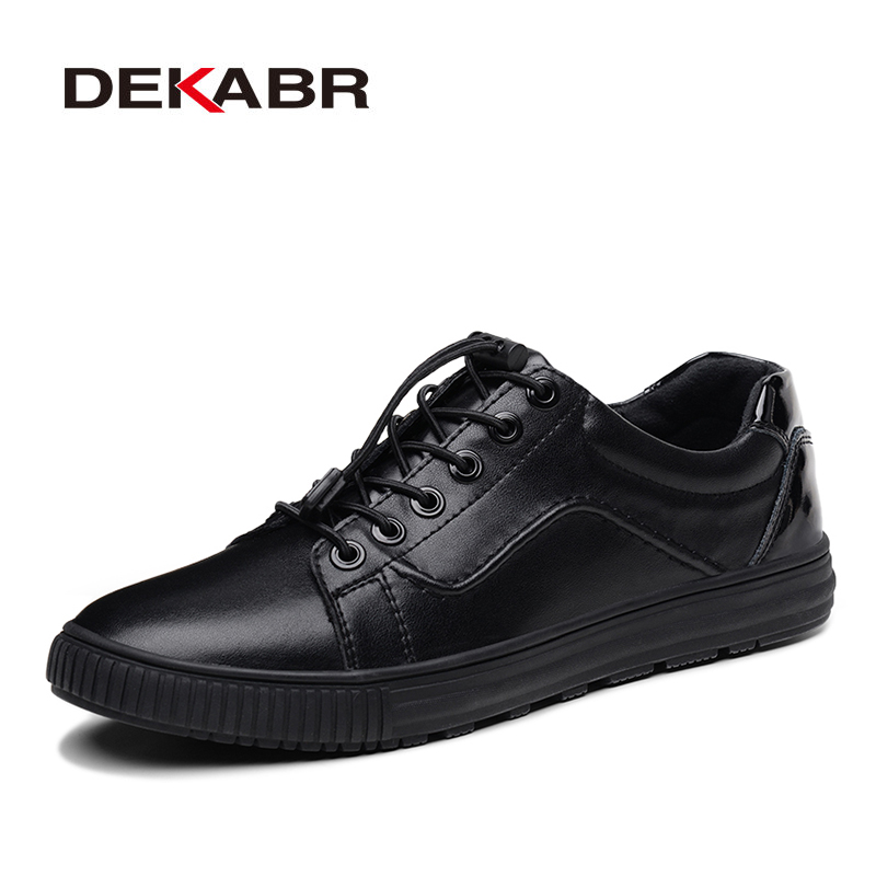 DEKABR New Men's Flats Spli Leather Casual Shoes Breathable Slip-on Lazy Shoes Fashion Black Classic Sneakers Brand Men Shoes new 2017 men s genuine leather casual shoes korean fashion style breathable male shoes men spring autumn slip on low top loafers