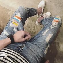 Мода 2017 лето цвет бар отверстие джинсы стиральная проблемные hip hop человек разорвал пят брюки свежие подростков карандаш брюки