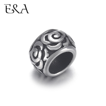 4pcs Stainless Steel Rose Flower Drum Bead 6mm Large Hole for Jewelry Bracelet Making Metal Beads DIY Supplies Parts