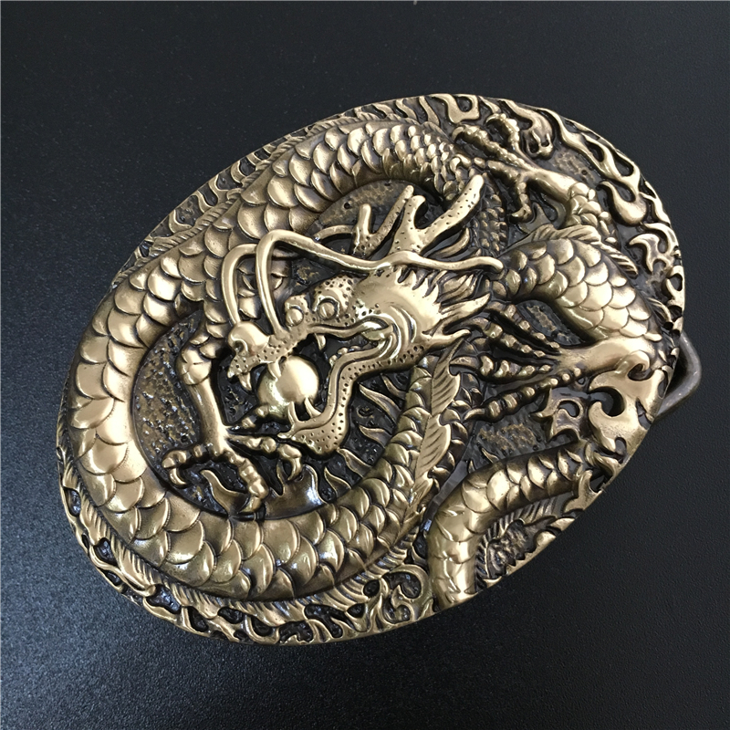 Chinese Dragon Belt Buckle Solid Brass Cowboy Belt Diy Accessories Men Belts Buckles TOP Quality Luxury Buckle Belt BK0058