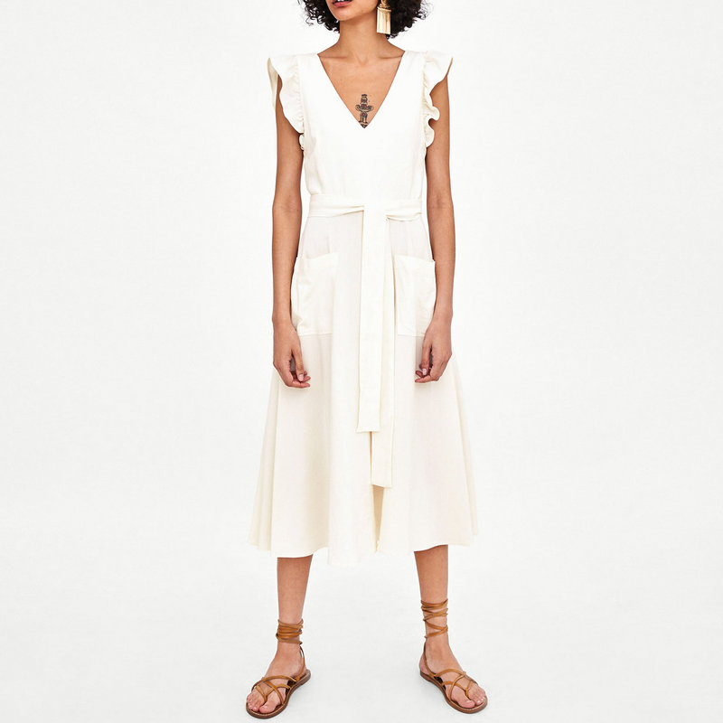 Reneesme women dress sleeveless v neck ruffles sashes ivory casual ladies dresses button A line pleated summer 2019 new vestidos