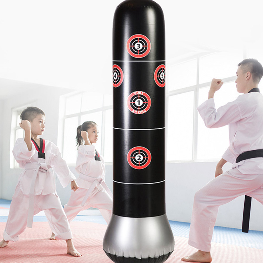 160cm Boxing Punching Bag Inflatable Free Stand Tumbler Pressure Relief Bounce Back Sandbag Outdoor Fun Sports Toy