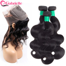 Gabrielle 360 Lace Frontal with Bundles Malaysian Human Hair Body Wave Bundles with Frontal Closure Non-Remy Hair Weaving(China)