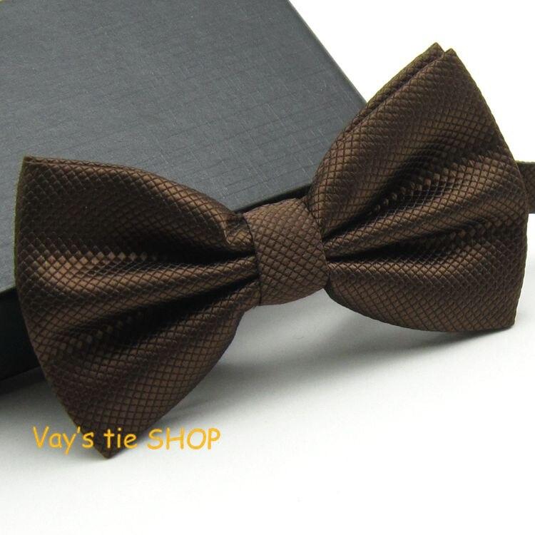 Fashion Mens Coffee Color Bowtie  Dull Jacquard Plaid Grid Leisure Solid Wedding Tuxedo Bow Ties Brown Cravat