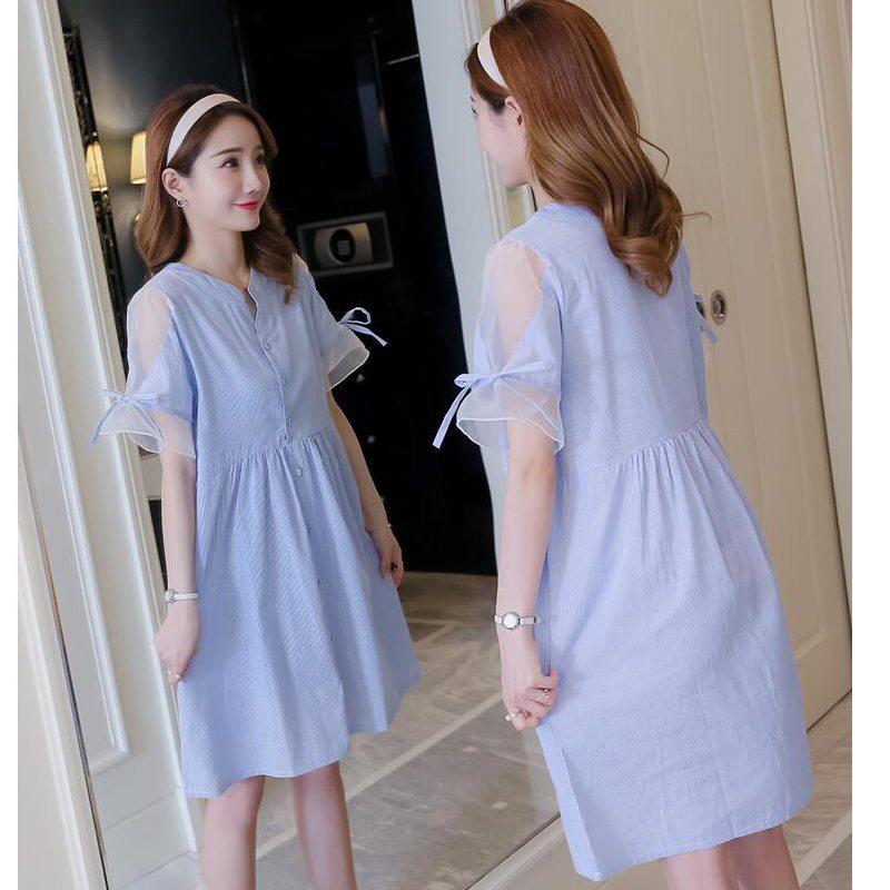 Pregnant women summer dress fashion short-sleeved long shirt cotton stripes 2018 new maternity clothes
